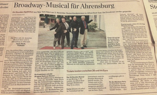 hamburger abendblatt broadway musical f r ahrensburg. Black Bedroom Furniture Sets. Home Design Ideas